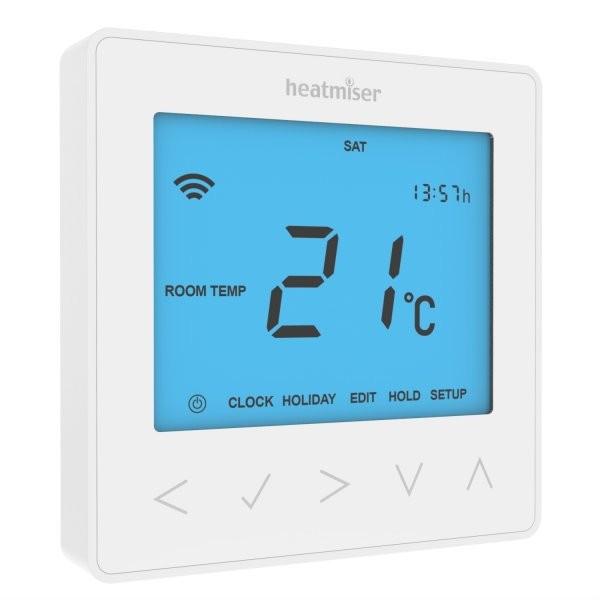 Heatmiser NeoStat 12v - Programmable Thermostat - Glacier White Front